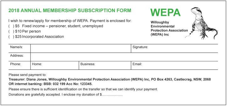 WEPA Membership Form 2018